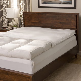 Super Snooze 5-inch 230 Thread Count Baffled Featherbed Set in Cal-King in Silver (As Is Item)