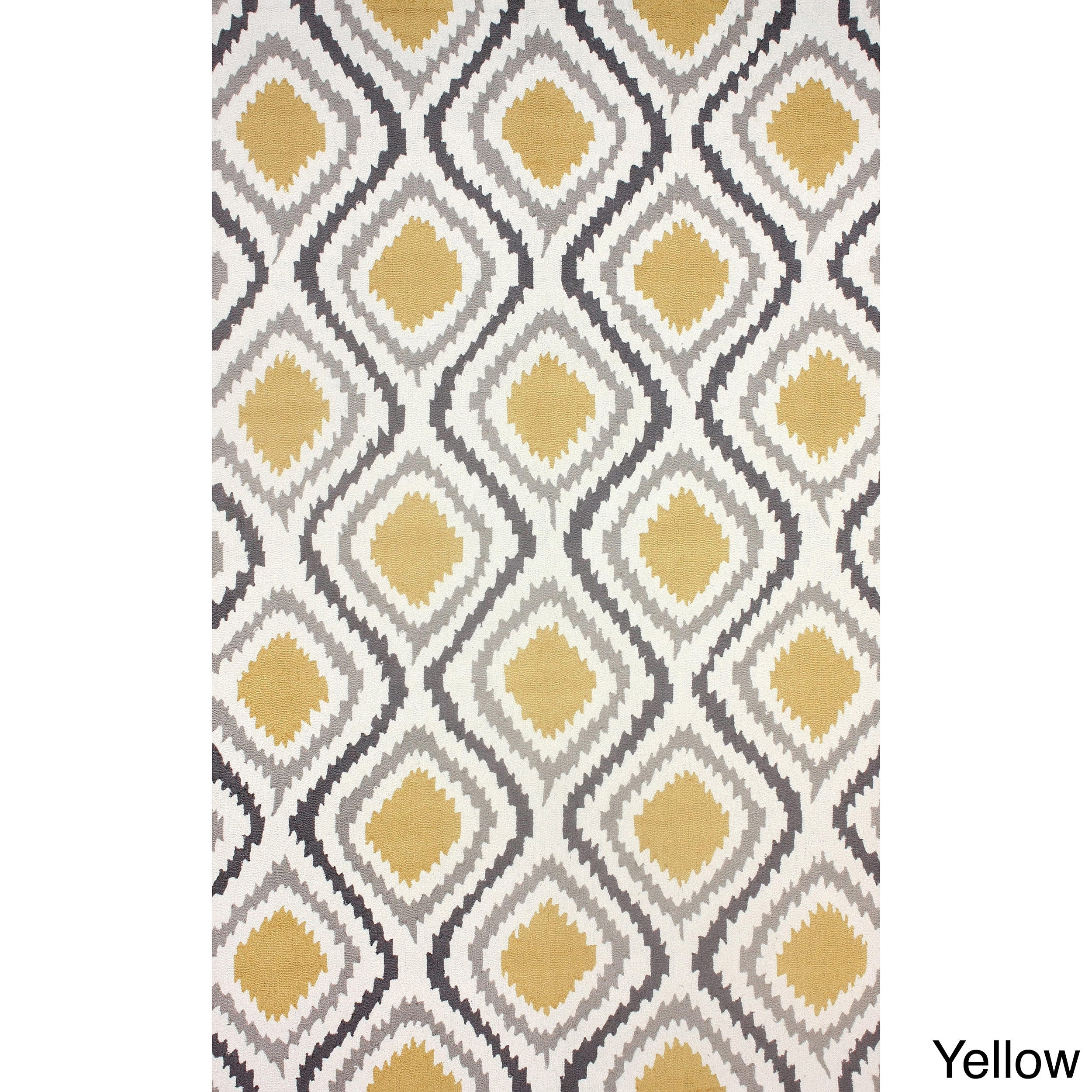 nuLOOM Hand-hooked Modern Ikat Rug (5' x 8') in Yellow (A...