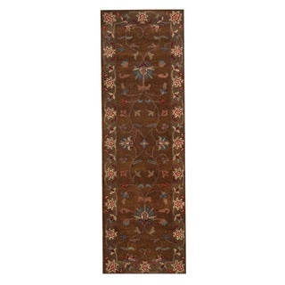 Herat Oriental Indo Hand-Tufted Mahal Brown/ Ivory Wool Rug (2'7 x 8')