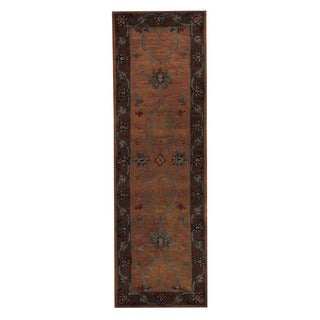 Herat Oriental Indo Hand-Tufted Mahal Light Brown/ Light Blue Wool Rug (2'7 x 8')