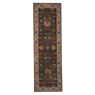 Herat Oriental Indo Hand-Tufted Mahal Gray/ Beige Wool Rug (2'7 x 8')