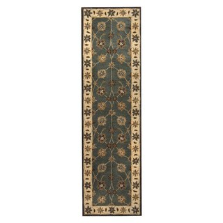 Herat Oriental Indo Hand-tufted Mahal Green/ Ivory Wool Area Rug (2'3 x 8')