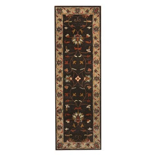 Herat Oriental Indo Hand-Tufted Mahal Brown/ Ivory Wool Rug (2'7 x 8'2)