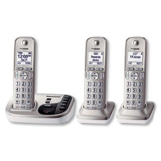 Panasonic KX-TGD223N DECT 6.0 Expandable Digital Cordless Answering System with 3 Handsets (Refurbished)