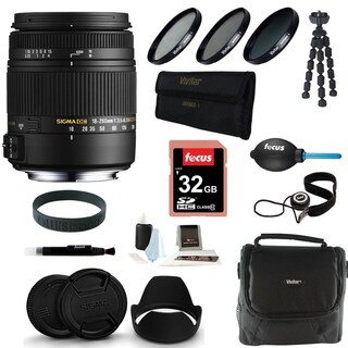 Sigma 18-250MM f3.5-6.3 DC MACRO OS HSM for Nikon Digital SLR Cameras with 32GB Deluxe Accessory Bundle