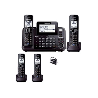 Panasonic KX-TG9542B Dect 6.0 2-Line Cordless Phone/Link-to-Cell and 2-Handsets + 2-Line Handset + iEssentials Bluetooth Headset
