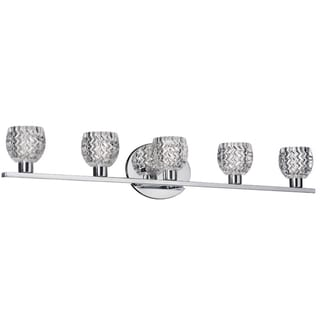 Dainolite 5-light Vanity Fixture in Polished Chrome in Cut Glass Crystal