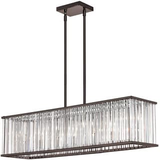 Dainolite 7-light Horizontal Crystal Chandelier in Vintage Oiled Brushed Bronze