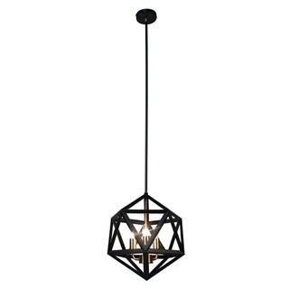 Dainolite 3-light Chandelier in Matte Black with Antique Brass Accents