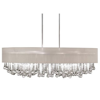 Dainolite 8-light Horizontal Polished Chrome Chandelier with Glass Droplets in Oyster Shade