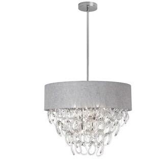 Dainolite 6-light Glass Loop Chandelier in Polished Chrome Finish in Linen Grey Shade