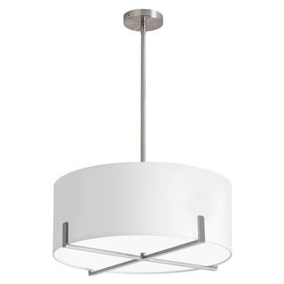Dainolite 1-light Pendant with White Drum Shade Satin Chrome Finish