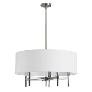 Dainolite 5-light Chandelier with White Drum Shade Satin Chrome Finish