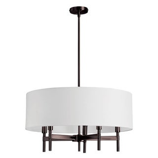 Dainolite 5-light Chandelier with White Drum Shade in Vintage Oiled Brushed Bronze