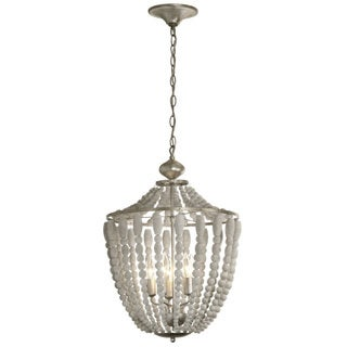 Dainolite 5-light Chandelier in White Washed Wood with Palladium Gold Trim