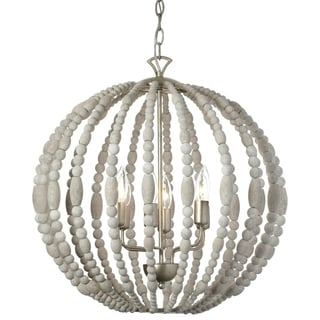 Dainolite 6-light Chandelier in White Washed Wood with Palladium Gold Trim