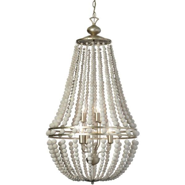 Dainolite 6-light Vertical Chandelier in White Washed Wood with Palladium Gold Trim