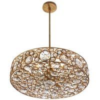 Dainolite 6-light Crystal Pendant with Gold Painted Finish