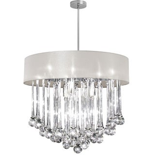 Dainolite 8-light Polished Chrome Chandelier with Glass Droplets in Oyster Shade