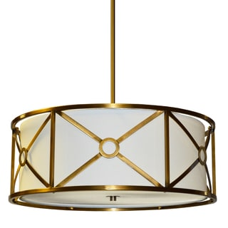 Dainolite 4-light Steel & Fabric Pendant in Vintage Bronze Finish