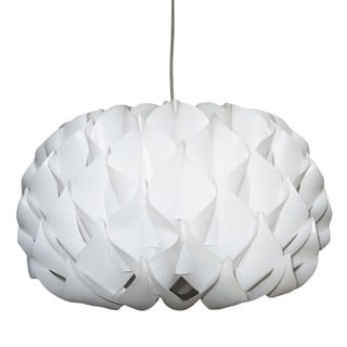 Dainolite 1-light Vinyl Pendant in White with Polished Chrome Hardware