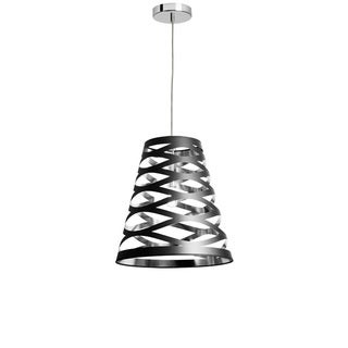Dainolite 1-light Cut Out Pendant with Black on Silver Shade