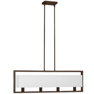 Dainolite 4-light Vintage Oiled Brushed Bronze Horizontal Pendant with White Linen Shade