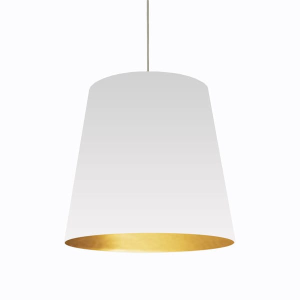 Dainolite 1 Light Oversized Drum Pendant With White On Gold Shade In Large