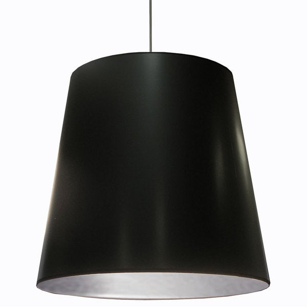 Dainolite 1 Light Oversized Drum Pendant With Black On Silver Shade In X Large