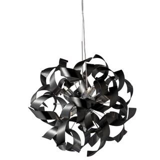 Dainolite 7-light Pendant in Black Aluminum Ribbons in Polished Chrome Finish