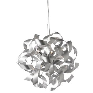 Dainolite 7-light Pendant in Silver Aluminum Ribbons in Polished Chrome Finish