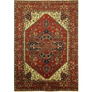Handmade Floral Red Wool Heriz Rug (10' x 14')
