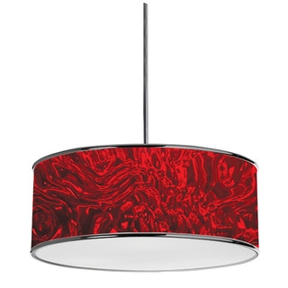 Dainolite 3-light Pendant in Polished Chrome in Red Ice Fabric