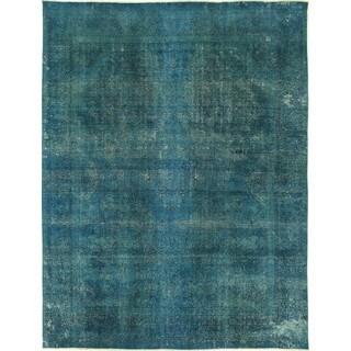 Handmade Oriental Blue Wool Tabriz Rug (9' x 13')