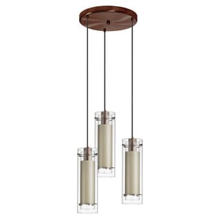 Dainolite 3-light Oil Brushed Bronze Round Pendant Clear/Clear Glass with Diana Tan Fabric Sleeve Black Wire