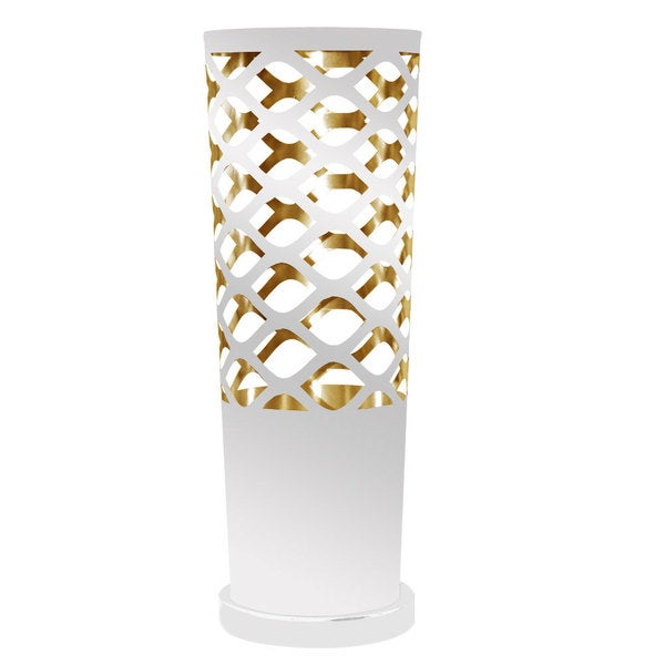 Dainolite 1-light Cut Out Table Lamp in White and Gold