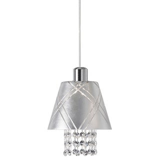 Dainolite 1-light Polished Chrome Pendant with Silver Leaf Shade Clear Crystal