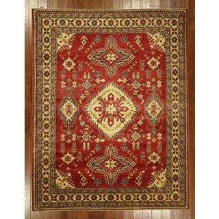 Handmade Geometric Red Wool Rug (7' x 9')