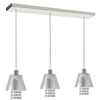 Dainolite 3-light Polished Chrome Pendant with Silver Leaf Shade Clear Crystal