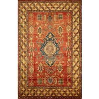 Handmade Geometric Traditional Wool Red Rug (8' x 12')