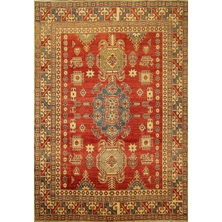 Hand-crafted Geometric Red Wool Rug (8' x 11')