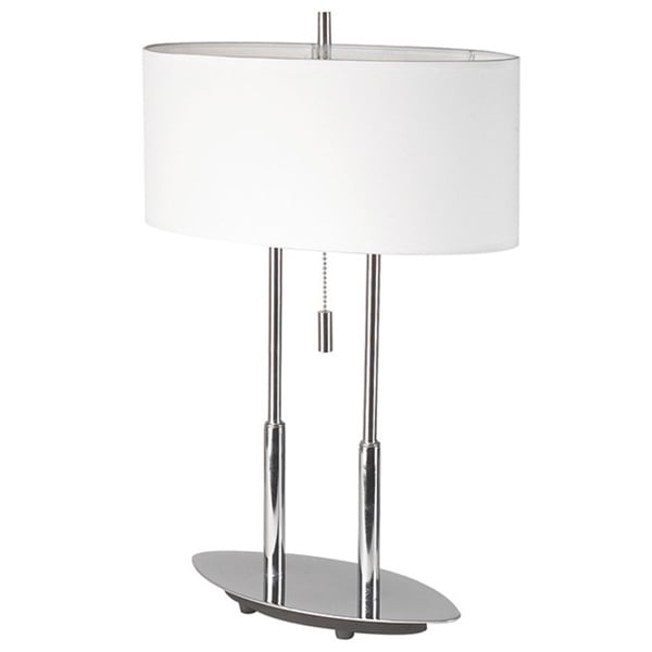 Dainolite Polished Chrome Table Lamp with White Oval Shade
