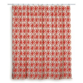 Rizzy Home Geometric Shower Curtain Blue, Red (Option: Red)