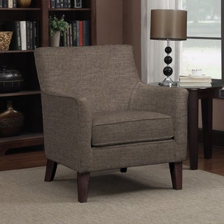 handy living waldron chocolate brown linen arm chair