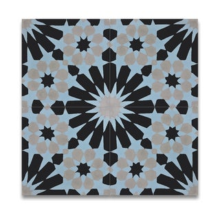 Agdal Blue, Grey and Black Handmade Moroccan 8 x 8 inch Cement and Granite Floor or Wall Tile (Case of 12)