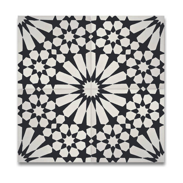 Agdal Balck and White Handmade Moroccan 8 x 8 inch Cement and Granite Floor or Wall Tile (Case of 12)