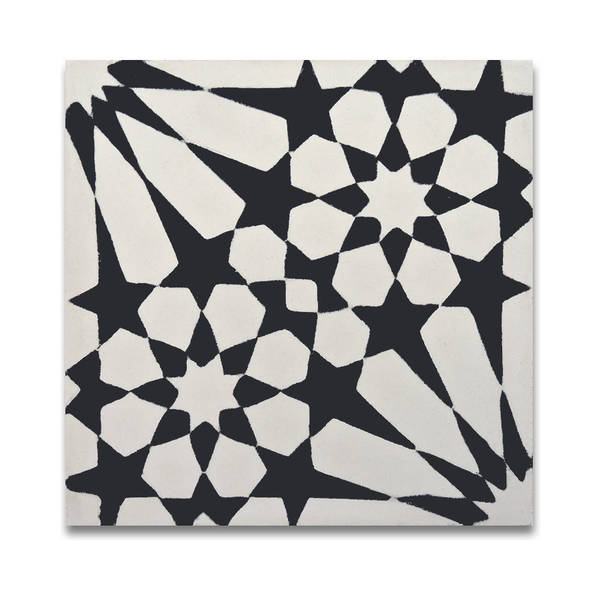 Agdal in Black and White Handmade 8x8-in Moroccan Tile (Pack 12)