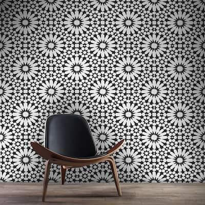 Handmade Agdal Black/White Tile, Pack of 12 (Morocco)