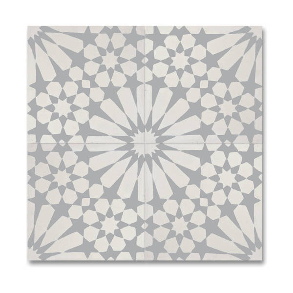 Agdal Grey and White Handmade Moroccan 8 x 8 inch Cement and Granite Floor or Wall Tile (Case of 12)