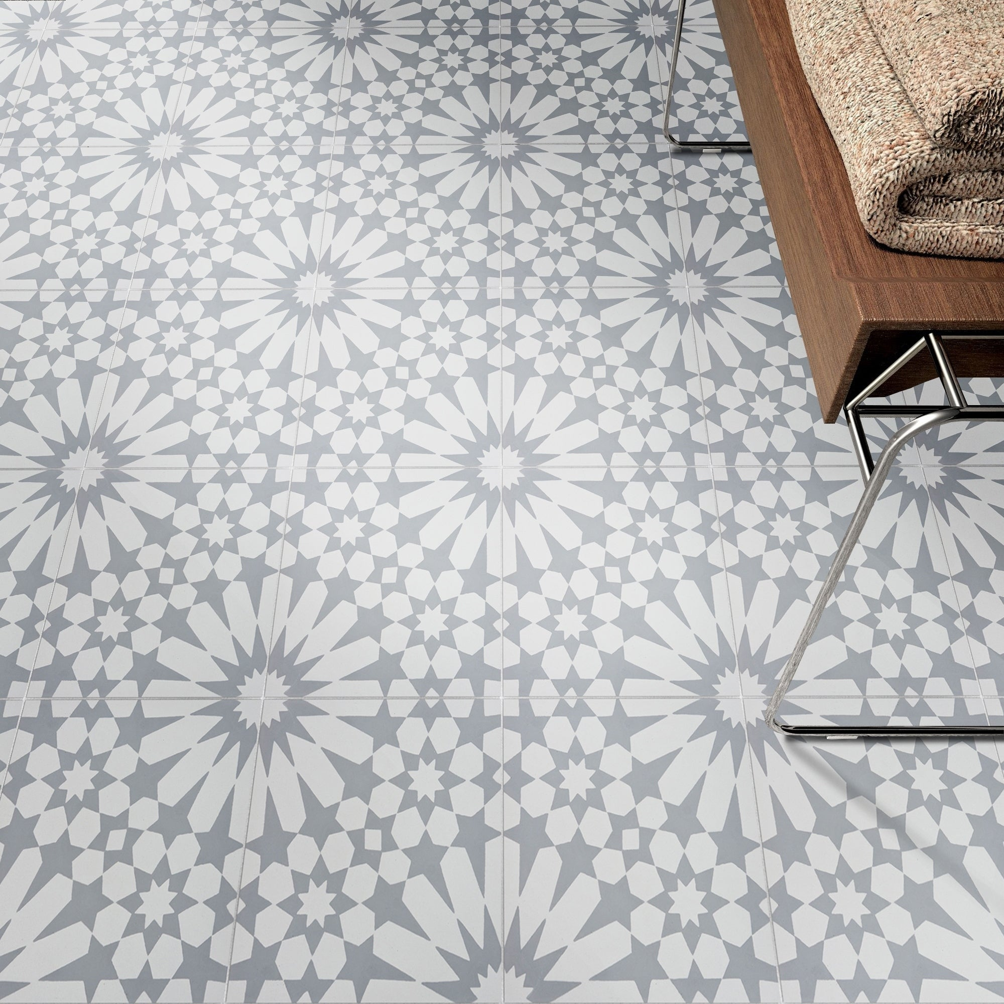 Handmade Agdal In Grey And White Tile
